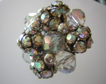 Signed Vogue Earrings Vintage 50s AB Rhinestones Crystals Clip On