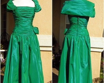 Emerald Green Dress Vintage 80s Iridescent Party or Prom - S XS Swishy Shirred Taffeta
