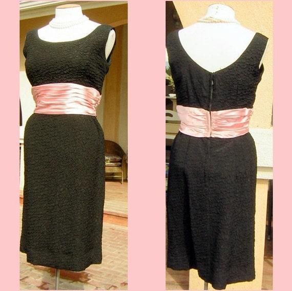 Vintage Cocktail Party Dress MEDIUM - Curvy Black, Pink Cummerbund - Classic & Elegant MadMen CLEARANCE