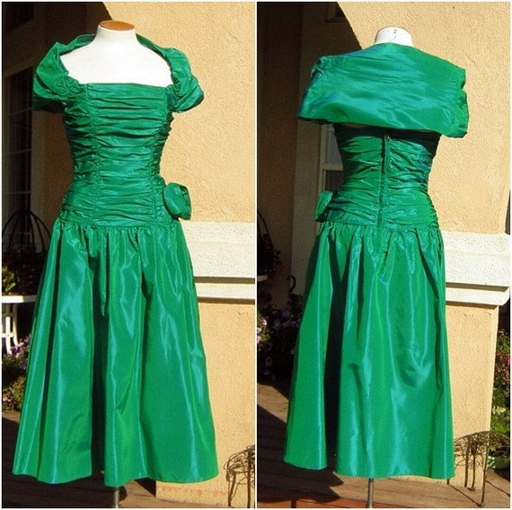Emerald Green Dress Vintage 80s Iridescent Party or Prom - S XS Swishy Shirred Taffeta