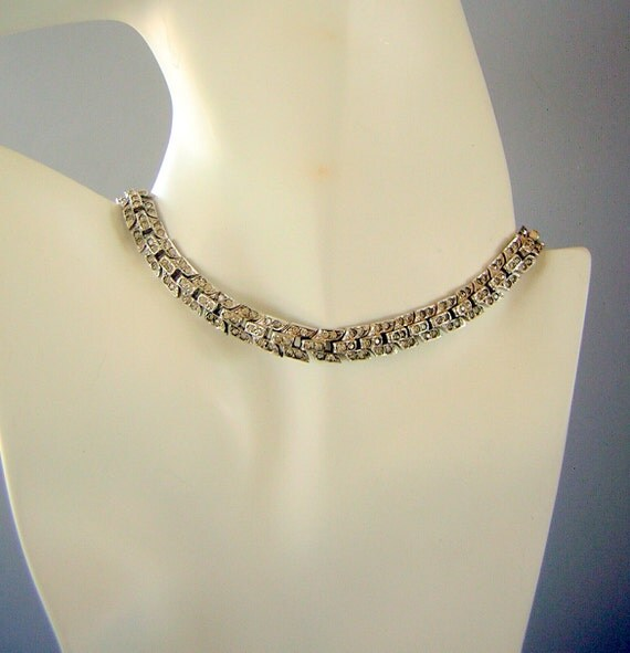 RESERVED for Frank 40s 50s Mazer Chevron Rhinestone Choker Necklace Signed - Sleek & Chic real Vintage
