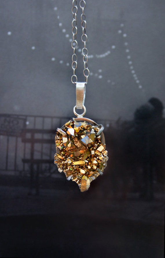 Gold druzy necklace with sterling silver chain and setting - Quartz crystal gemstone statement necklace