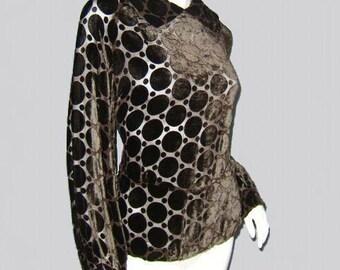 Vintage 30's Flocked Velvet Polka Dots PEPLUM Blouse M