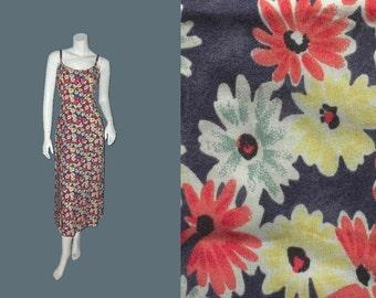 Vintage BENETTON Daisy Print Rayon Maxi Dress 90s S