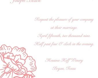 Peony Wedding Invitation Design