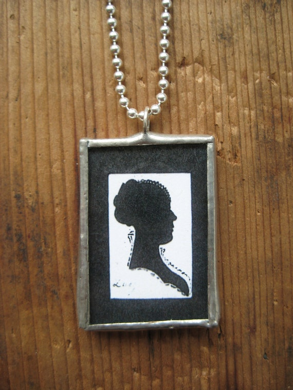 CLEARANCE - Black & White Silhouette Woman Soldered Pendant, gifts for her, gifts under 10, lead free solder, sterling silver ball chain