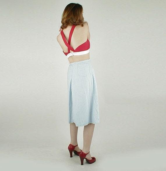 50s Vintage Light Blue Stripe Seersucker Skirt XL
