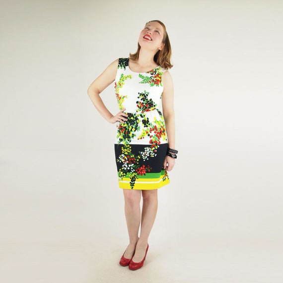 60s White, Black, Red, Green & Yellow Flower Print Short Sheath Dress S