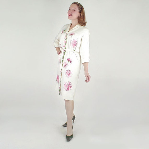 60s Vintage Silky Pink Daisy Print Shirt Dress by Serbin L