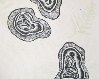 Woodcut Print Original Wood Engraving Three Seeds Surreal Child Figures in Pods