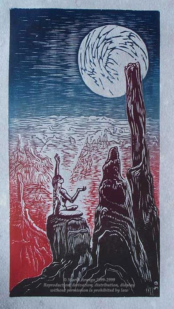 Original Color Woodcut Print Art Purple Blue Moon Woman in Yoga Pose in Desert Southwest Landscape