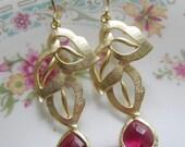 Red GarnetTeardrop Earrings, Valentines day Earrings, Gold Leaf Earrings, Ruby Dangle, Bridesmaid Earrings, Valentines Day, January Birthday