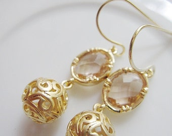 Pink Champagne Oval Earrings, Goldplated Ball Dangle Drop Earrings, Gold Filigree, Wedding Jewelry, Bridesmaid Gifts, Gardendiva