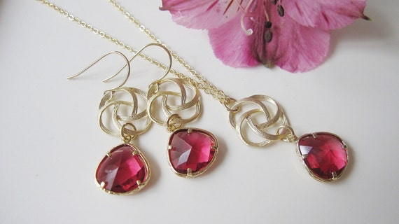 Ruby Red Swirl Earring Necklace Set, Red Garnet Jewel Glass Pendan, Bridesmaid Jewelry
