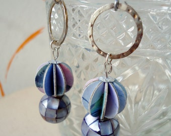 Repurposed Paper Earrings Shades of Lavender