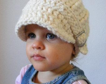 Toddler Hat 1T to 2T Toddler Girl Hat Toddler Boy Hat Cream Toddler Hat Girl Toddler Hat Boy Crochet Winter Hat Knit Winter Beanie Buckle