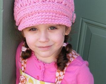 Toddler Girl Newsboy Cap 2T to 4T Toddler Girl Hat Pink Newsboy Hat Toddler Newsboy Crochet Newsboy Pink Toddler Hat Toddler Clothes Winter