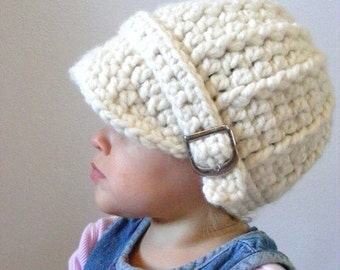 Cream Baby Hat 9 to 12 Month Baby Girl Hat Baby Boy Hat Baby Girl Clothes Baby Boy Clothes Winter Hat Photo Prop Crochet Hat Knit Buckle
