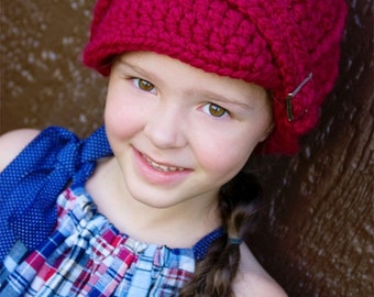 Toddler Hat 2T to 4T Toddler Girl Hat Toddler Boy Hat Cranberry Red Chunky Crochet Hat Knit Buckle Beanie Toddler Clothing Toddler Clothes