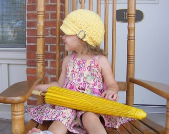 Toddler Girl Newsboy Cap Toddler Newsboy Hat Toddler Girl Hat Yellow Toddler Hat 2T to 4T Crochet Newsboy Knit Buckle Toddler Girl Clothes