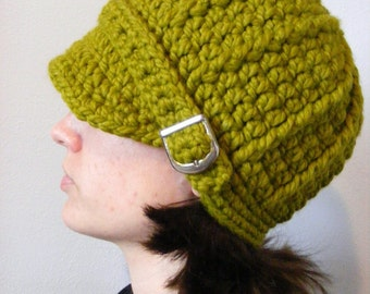 Womens Hat Lemongrass Hat Womens Beanie Lemongrass Beanie Womens Cap Lemongrass Cap Green Hat Green Beanie Green Cap Silver Buckle Beanie