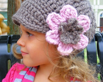 Toddler Girl Hat 1T to 2T Taupe Toddler Hat Crochet Flower Hat Flower Beanie Flapper Hat Flapper Beanie Pink Blossom Toddler Girl Clothes