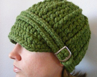 Womens Hat Green Womens Hat Womens Beanie Womens Cap Green Hat Green Beanie Green Cap Crochet Hat Knit Silver Buckle Green Grass Winter Hat