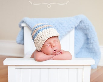 Baby Boy Hat 0 to 3 Month Ecru Baby Hat Light Blue Crochet Baby Hat Cotton Baby Hat Striped Visor Beanie Photo Prop Baby Boy Clothes