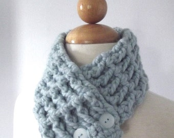 Sky Blue Womens Scarf Blue Womens Scarflette Blue Scarf Blue Scarflette Crochet Scarf Button Scarf Womans Cowl Light Blue Button Cowl