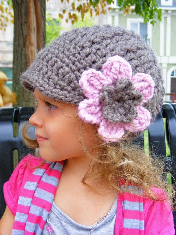 Girls Hat 4T to Preteen Taupe Girls Hat Pink Blossom Pink Flower Hat Chunky Crochet Winter Hat Trendy Light Brown Hat Girls Clothes