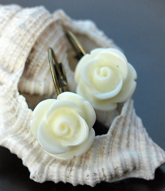 Ivory and Brass Button Rose Earrings