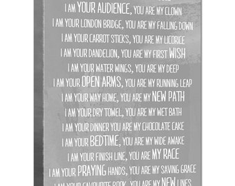 I am your parent you are my child poem with 2 other colors options 10x20 STOCK Art Typography Canvas Gift for New Parents Holiday Gift Idea