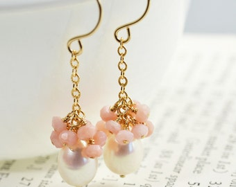 Pearl Cluster Earrings, White Pearl Dangle Earrings, Pink Opal Earrings, June Birthstone