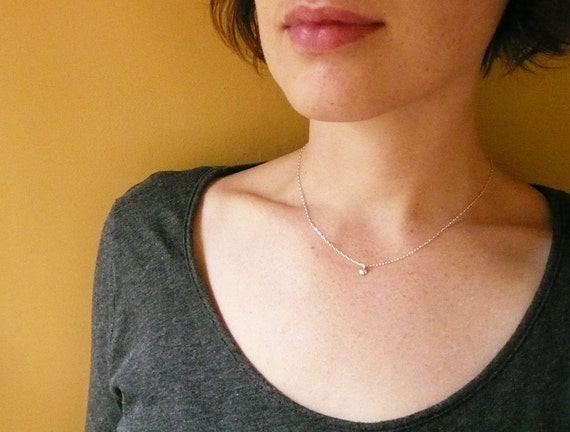 Tiny Drop Necklace in Sterling Silver - Tiny Dome Dot Silver Necklace, Dainty Pendant Necklace