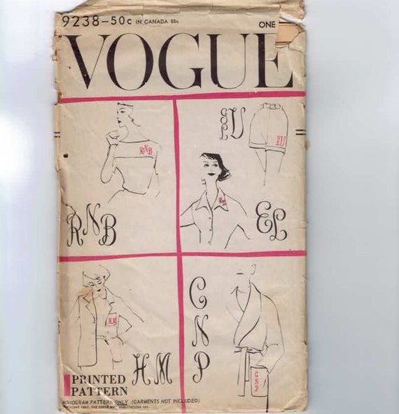 1950s Embroidery Transfer Sewing Pattern Vogue 9238 Monogram Initials Embroidery Transfer UNCUT