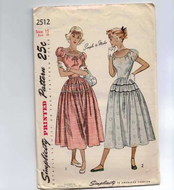 1950s Vintage Sewing Pattern Simplicity 2512 Peasant DressSize 15 Bust 33