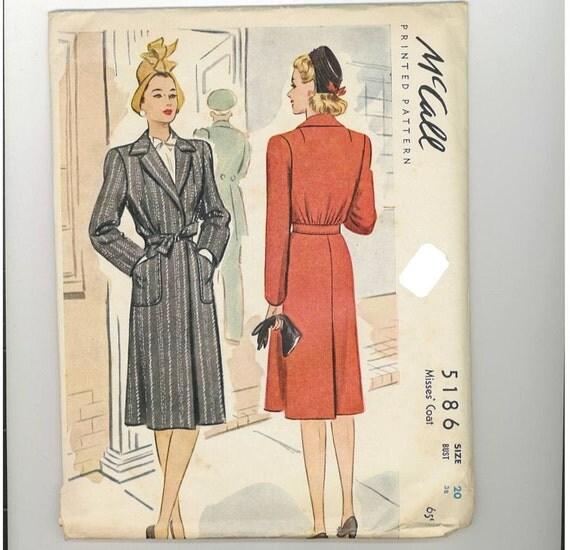 1940s Vintage Sewing Pattern McCalls 5186 Coat Size 20 Bust 38 1943 UNCUT