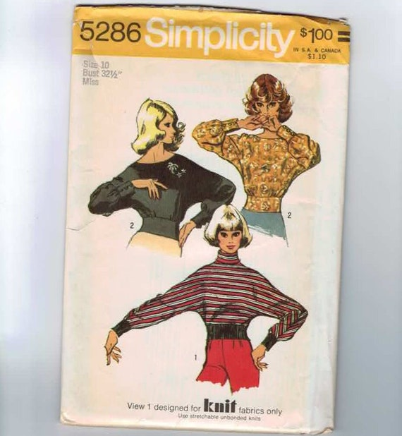 1970s Vintage Sewing Pattern Simplicity 5286 Misses Dolman Sleeve Blouse Size 10 Bust 32 1/2 1972 70s