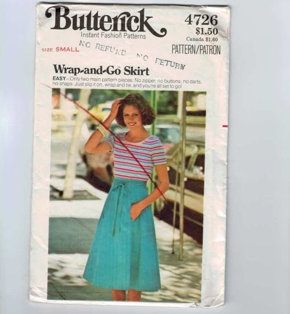 1970s Vintage Sewing Pattern Butterick 4726 Easy Wrap and Go Skirt Size Small Waist 24 25 UNCUT 70s