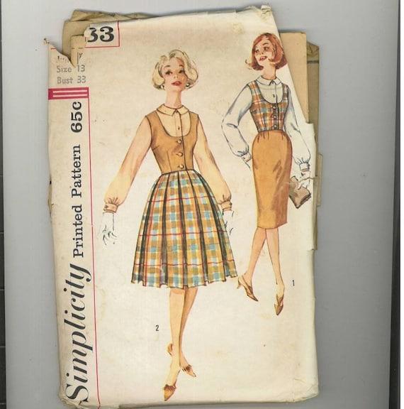 1960s Vintage Sewing Pattern Simplicity 3583 Skirt Blouse Vest Size 13 Bust 33 99