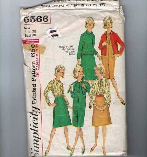1960s Vintage Sewing Pattern Simplicity 5566 Plus Size Womens Suede Skirt Jacket Dress Blouse Size 20 Bust 40 1964 60s