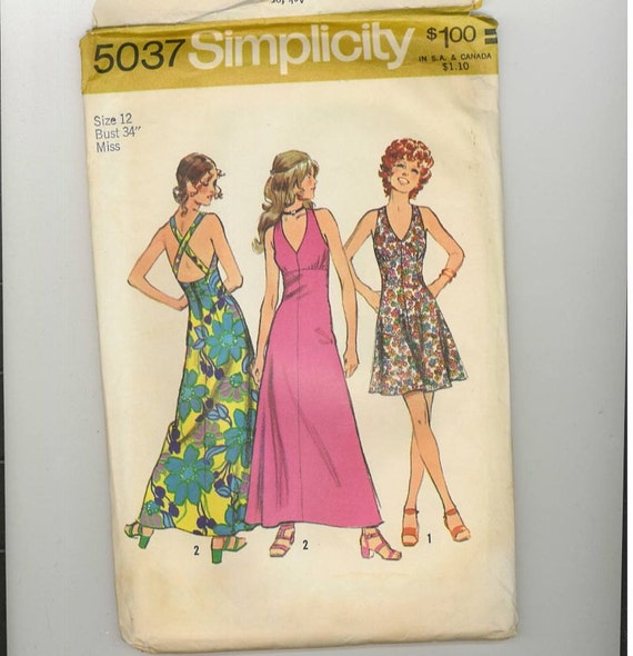 1970s Vintage Sewing Pattern Simplicity 5037 High Empire Waist Cross Back Sundress Mini Maxi Size 12 Bust 34 1972 70s
