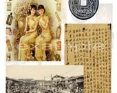 Vintage China - Mixed Media Digital Collage Sheet