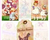Easter Tags...Girl...Digital Collage Sheet