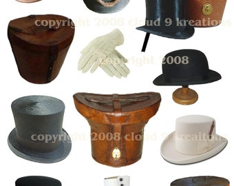 Victorian Men's Hats, Hat Boxes and Accessories Digital Collage Sheet