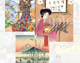 Asian Japanese Digital Collage Sheet 2 -