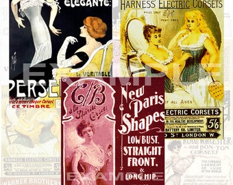 Vintage Womens Corset Ads Digital Collage Sheet
