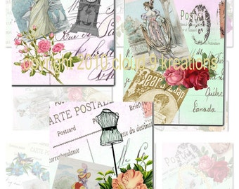 8 French Postal Carte ATC/ACEO Backgrounds...Digital Collage Sheet