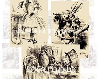 Alice In Wonderland - Sepia Toned Tenniel Digital Collage Sheet