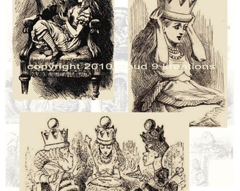 Sepia Toned Tenniel Alice Through The Looking Glass Digital Collage Sheet